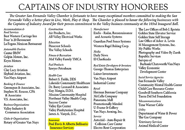 Captains Of IndustryHonorees