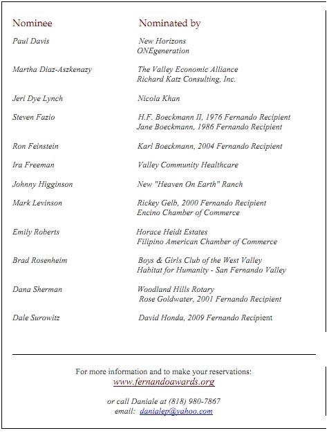 2015 Fernando Award Nominees